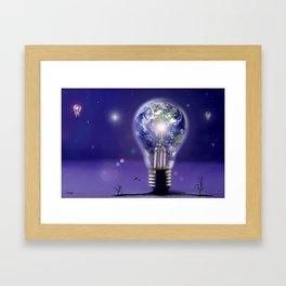 The sun is a light bulb Framed Art Print