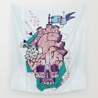gore Wall Tapestries featuring Skullheart by manuvila