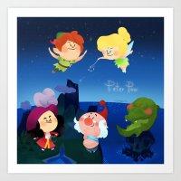 peter pan Art Prints featuring Peter Pan by UniverseSunny