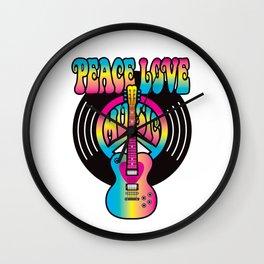 Peace Love Music Vinyl Wall Clock