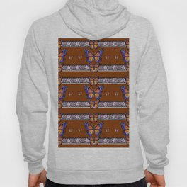COFFEE BROWN BLUE MONARCHS BUTTERFLY BANDS ART Hoody