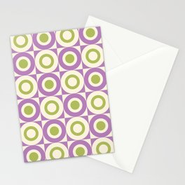 Mid Century Square and Circle Pattern 541 Lavender and Chartreuse Stationery Cards