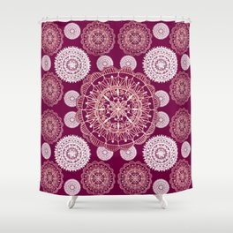 Berry and Bright Patterned Mandalas Shower Curtain