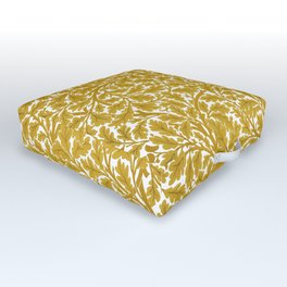 William Morris Oak Leaves, Mustard Yellow & White Outdoor Floor Cushion