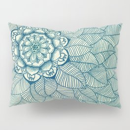 Emerald Green, Navy & Cream Floral & Leaf doodle Pillow Sham