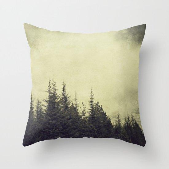 Foggy forest. Retro Throw Pillow