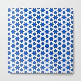 Blue Sapphire Islamic Woven Star Art Pattern Metal Print