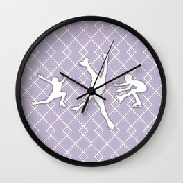 Lavender Purple Girls Figure Skating Wall Clock
