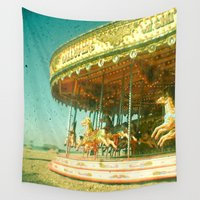 carousel Wall Tapestries featuring Carousel by Cassia Beck