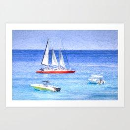 Catamaran Caribbean Art Art Print