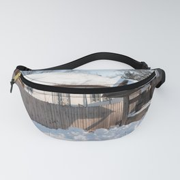 Sunny day at a beautiful heritage Romanian house covered in heavy snow Fanny Pack