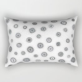Hand Drawn Buttons Black and White Rectangular Pillow