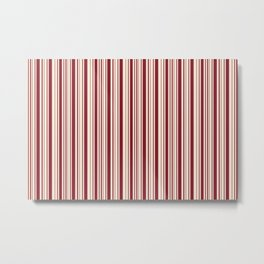 Antique Ruby and Antique White Stripes Metal Print