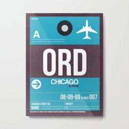 ORD Chicago Luggage Tag 1 Metal Print