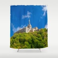 downton abbey Shower Curtains featuring Mont Saint-Michel Abbey by Nicolas Raymond