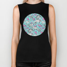 Dinosaurs and Roses - turquoise blue Biker Tank