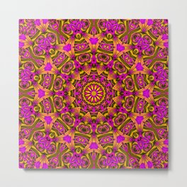 Purple yellow kaleidoscope Metal Print