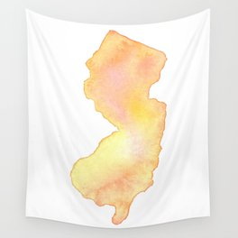 Coral Watercolor State of New Jersey Wall Tapestry