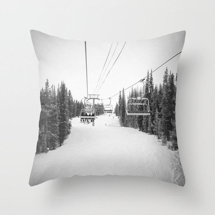 """Ski Lift"" Deep Snow Season Pass Dreams Snowy Winter Mountains Landscape Photography Throw Pillow"