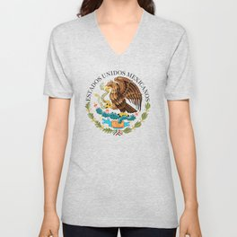 Mexican seal on Adobe red Unisex V-Neck