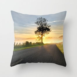 Lonely Tree At Foggy Country Road Ultra HD Throw Pillow