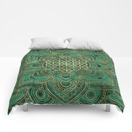 Flower of Life in Lotus - Malachite and gold Comforters