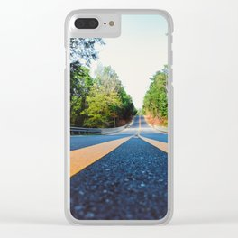 Between yellow lines Clear iPhone Case