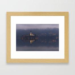 Misty Lake Bled At Night Framed Art Print