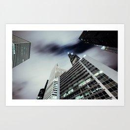 Cityscape I - Contemporary Skyscrapers Minimal Modern Studio Office Art Print Chicago Art Print
