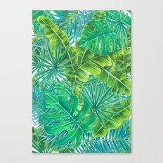Tropcal leaves watercolor Canvas Print