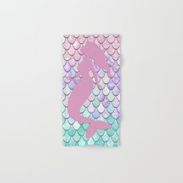 Mermaid Silhouette, Pastel Pink, Purple, Teal Hand & Bath Towel