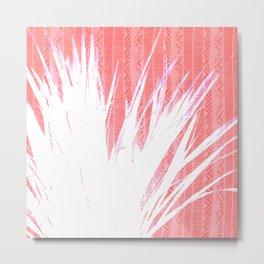 NL 15 Pink & White Tribal Grass Metal Print