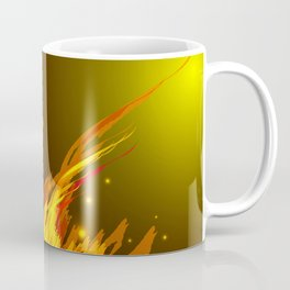 A bonfire with tongues of flame and sparks for the design of summer night ideas. For postcards and f Coffee Mug