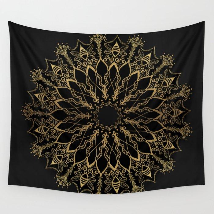 Golden Bee Mandala Wall Tapestry