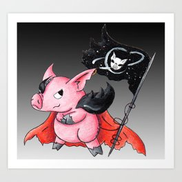 Space Pirate Piggy Art Print