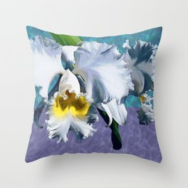 White Orchid Over Water Throw Pillow