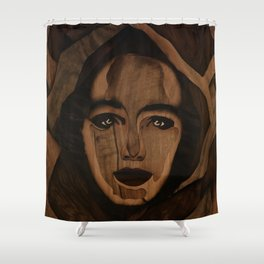 Fantasy wood face woman marquetry Shower Curtain