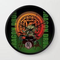 drum Wall Clocks featuring Dragon drum by kuuma