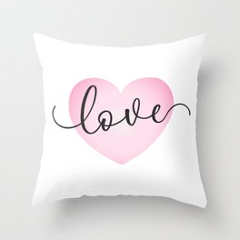 Simple Valentine's Day Love Calligraphy Pink Heart Throw Pillow