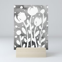 Whimsical watercolor flowers – black and white Mini Art Print
