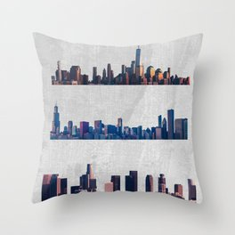 Chicago, New York City, And Los Angeles City Skylines Throw Pillow