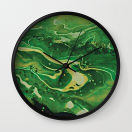 Green Mountain Stream - Forest Scene Abstract Art Wall Clock