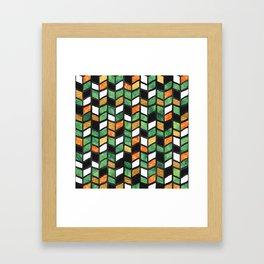 Herringbone Golden Jade Framed Art Print