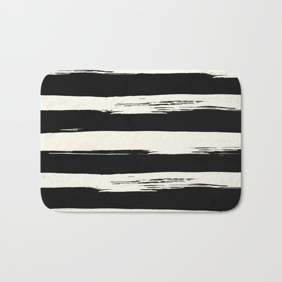 Trendy Black + Cream Stripes Bath Mat