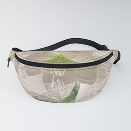 White Flowers Amaryllis Glowing Simple Modern Art Tan Background and Green Accents Fanny Pack
