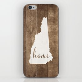 New Hampshire is Home - White on Wood iPhone Skin