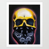 gangster Art Prints featuring Gangster Skull  by GIlbert G909