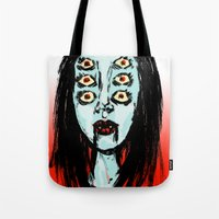 supreme Tote Bags featuring succubus supreme by Creaturetown