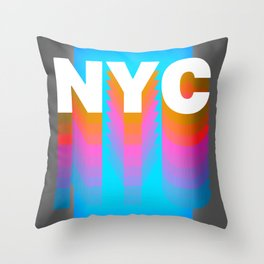 NYC colorful print design Throw Pillow