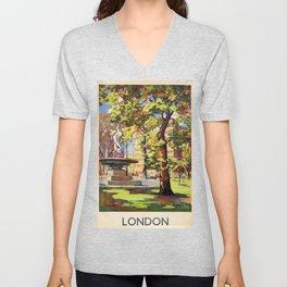 London Vintage Travel Poster Unisex V-Neck